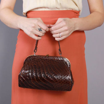 40s 50s ALLIGATOR Box PURSE / Vintage 1940s - 1950s Chocolate BROWN Reptile Handbag