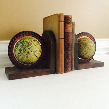Old World Style Rotating Globe Bookends Set, Vintage Home or Office Decor