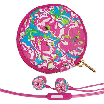 Lilly Pulitzer Earbuds and Pouch - Lucky Charms