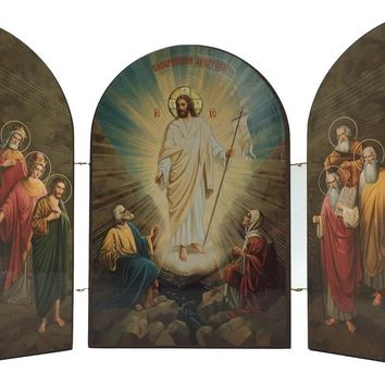 Christ Ascension Desktop Size Hinged Triptych Christian Devotion Desk Art attic AS IS, no returns