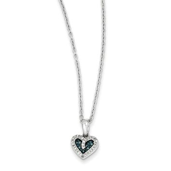 1/10 Ctw Blue & White Diamond 9mm Heart Necklace in Sterling Silver