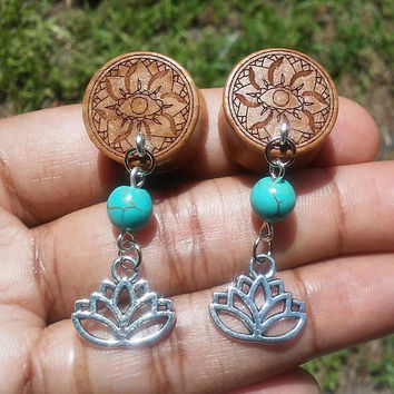 Organic Oak wood Mandala, Lotus flower Double flare Ear Plugs, Gauges, 10mm, 12mm, 14mm, 18mm, 20mm, Body Jewelry