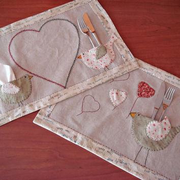 Patchwork placemats or mug rugs. Matching set of two fabric mug rugs. Table decor. Cottage chic home decor