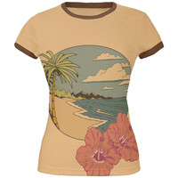 Paradise Hibiscus Blossom All Over Tan-Brown Juniors Soft Ringer T-Shirt