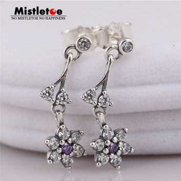Mistletoe Authentic 925 Sterling Silver Forget Me Not Drop Earrings, Purple & Clear CZ Fit European Jewelry