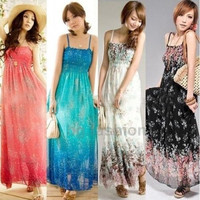 Womens Sexy Sleeveless Floral Chiffon Maxi  Long Dresses Summer Beach Dress = 1928797316