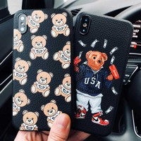 Cute Italy luxury brand bear Skin texture cover case for iphone 6 S 7 7 plus 8 X XS XR XS MAX Soft silicon suprem phone cases