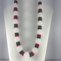 Beaded Strand Necklace, Green Pink and White, Chunky Necklace, Sorority Necklace, College Gift