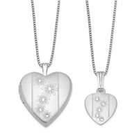 Sterling Silver Polished Flowers Heart Mom Locket & Daughter Pendant Set