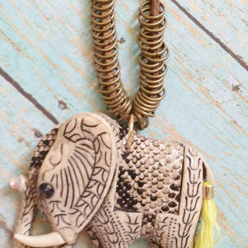 Elephant Necklace / Leather Necklace / Neon Tassel Jewelry / Tribal Jewelry / Western Jewelry / Large Elephant / Festival Jewelry
