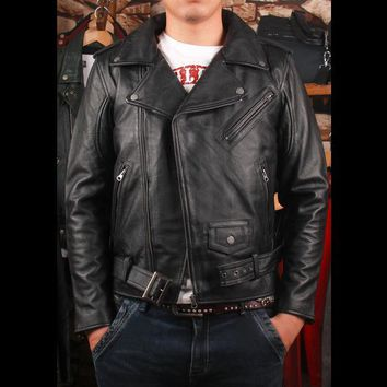 Free .plus size Brand classic men leather Jacket men's genuine Leather biker jacket.cowskin slim coat for