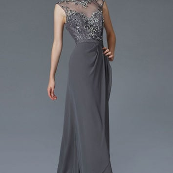 G2099 High Neck Sheer Illusion Chiffon Evening Gown MOB Modest Prom Dress