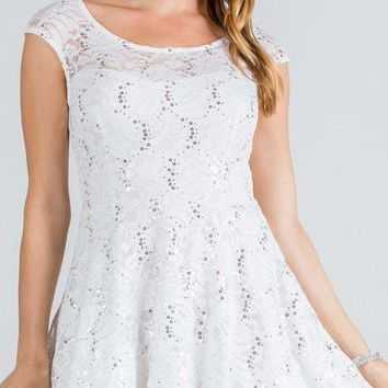 Lace Cap Sleeves Short Cocktail Dress Boat Neckline Off White