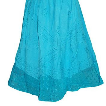 Womens Skirt Boho Blue Embroidered Long Skirts M/L