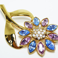 Blue & Pink Rhinestone Flower Pin - Gold Tone Long Stem and Leaves - Marquis Rhinestone Petals - Modern Garden Flower Brooch - Vintage 1990s