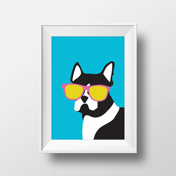 Boston Terrier, Modern, Stylish, Glasses, Printable, Instant Download, Dog, Black and White, Kid, Nursery, Home Decor, Pop, Blue, Pink, Art