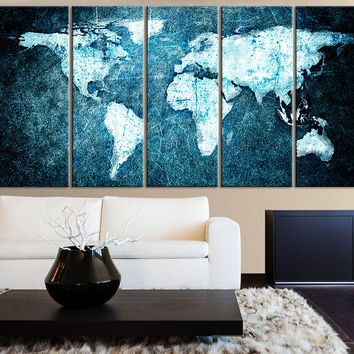 Beautiful WORLD MAP Blue Metalic Background Canvas Print - 5 Panel Canvas Art Print - World Map Drawing - Streched Canvas