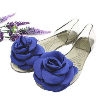 Rose Flower Transparent Flat Slip On Casual Sandals