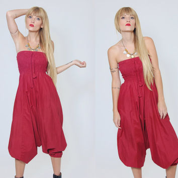 Vintage 90s HAREM Pants Burgundy Strapless JUMPSUIT Relaxed Indian Trouser Sarouel Jodpher