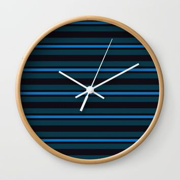 horizontal line with variations in blue Wall Clock by Berwies