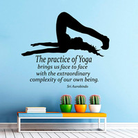 Wall Decals Girl Quote The Practice Of Yoga Brings Us Face To Face Pilates Art Mural Decal Vinyl Sticker Interior Design Gym Decor KG823