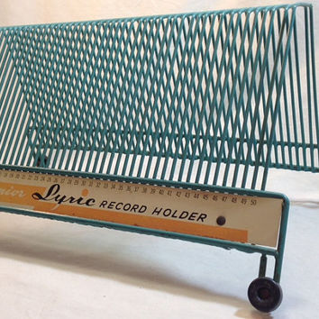 vintage vinyl record holder // mail sorter // metal desk organizer // 45 record storage with 50 spaces