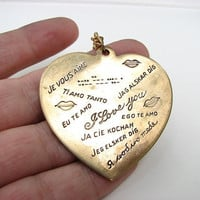 languages of love brass heart necklace