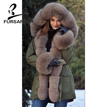 FURSARCAR Real Fur Coat Women With Fox Fur Trim Hood And Cuff Luxury New Winter Thick Warm Military Style Fur Parka For Female