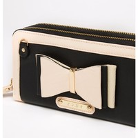 LYDC 3D Bow Purse in black mock leather with nude pink trims