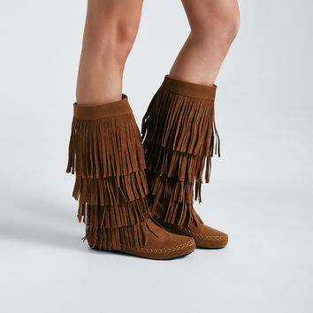 Faux Suede Tiered Fringe Moccasin Boots | Wet Seal