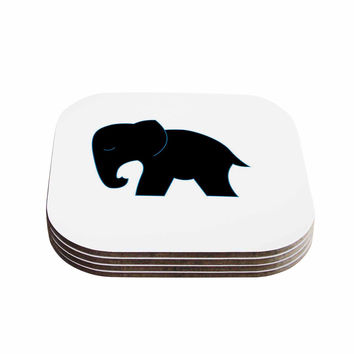 "NL Designs ""Cute Black Elephant"" Black Animals Coasters (Set of 4)"