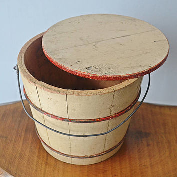 Vintage Sap Bucket With Lid, Painted Wood Sap Bucket, White And Red Wood Pail