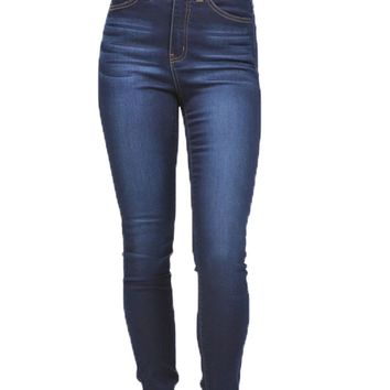 Kan Can Dark High Rise Skinny Jeans