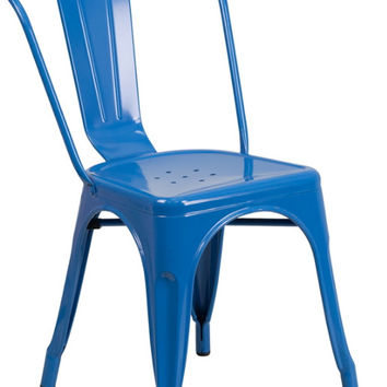 Blue Metal Indoor-Outdoor Stackable Chair