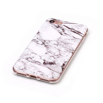 Gray White Marble Stone iPhone 7 7Plus & iPhone 6s 6 Plus Case Cover