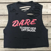 Vintage D.A.R.E. To Resist Drugs & Violence Black Custom Distressed Open Back Crop Top Shirt Women's L