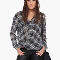 Joa Upgraded Plaid Blouse Top