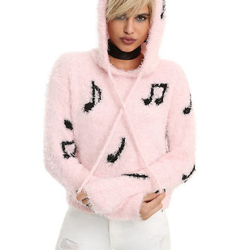 Pastel Pink Music Note Fuzzy Sweater