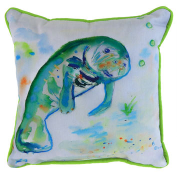 Betsy's Manatee Small Indoor/Outdoor Accent Pillow