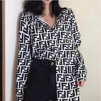 Fendi New fashion more letter print retro long sleeve top shirt women