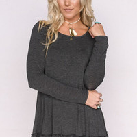 Ruffle Hem Tunic Dress In Gray