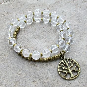 Healing, Genuine Clear Quartz Crystal 27 Bead Wrap Bracelet