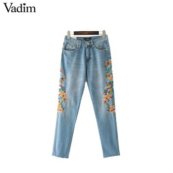 Women cute bird floral embroidery denim jeans fringe tassel pockets ankle length pants casual trousers