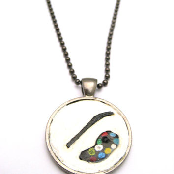 Painters Tray Necklace  Pendant Hand Carved Leather Jewelry  Paint Palette Artist  Jewelry  Painters  Necklace Paint Tray  Necklace