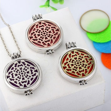 Silver Plated DIY Jewelry with Geometric Pattern Loket Essential Oils Diffuser Aromatherapy Necklace +7 Felt Pads [8322877761]