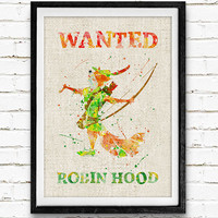 Robin Hood, Wanted, Disney, Watercolor Print, Baby Nursery Room Art, Home Decor, Not Framed, Buy 2 Get 1 Free!