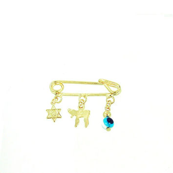 GF Diaper Pin Hebrew Charms