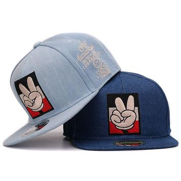 Jeans snapback mickey victory fingers embroidery high quality women flat baseball caps hip hop hat and cap for men and women