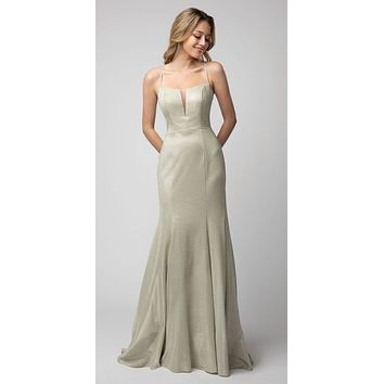 Metallic Champagne Long Prom Dress Lace-Up Back