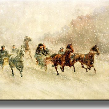 Horses Pulling Sleigh through Snow Picture on Acrylic , Wall Art Décor, Ready to Hang!